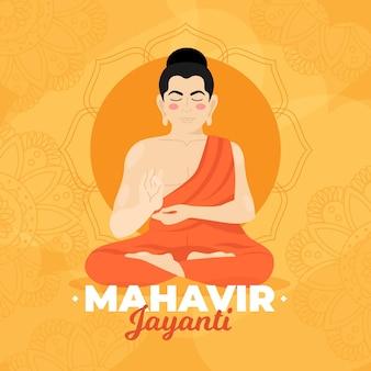 Hand getekend mahavir jayanti illustratie