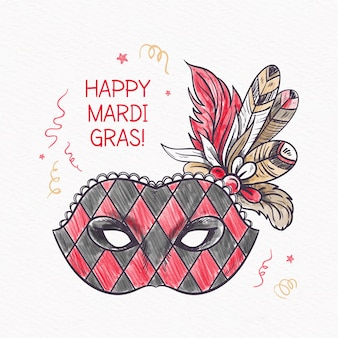 Hand getekend mardi gras concept
