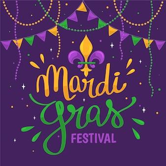 Hand getekend mardi gras festival