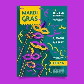 Hand getekend mardi gras flyer-sjabloon
