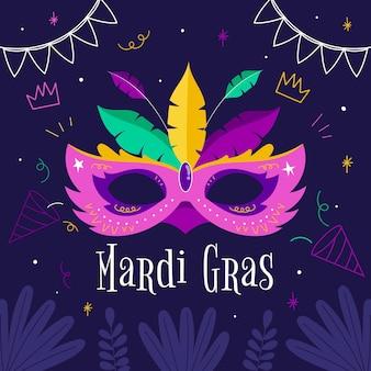 Hand getekend mardi gras masker