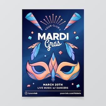 Hand getekend mardi gras poster sjabloon