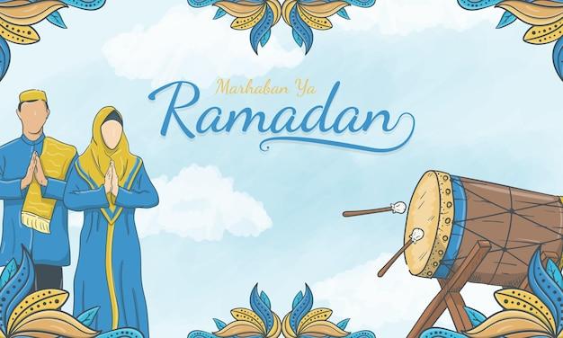 Hand getekend marhaban ya ramadan met islamitisch ornament en moslimkarakter