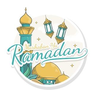 Hand getekend marhaban ya ramadan stickerstijl
