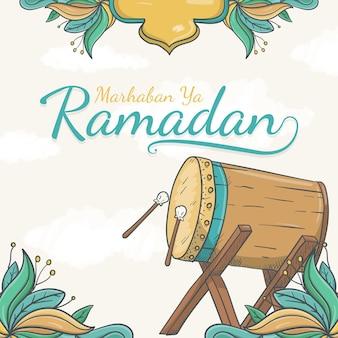 Hand getekend marhaban ya ramadan wenskaart met islamitische versiering
