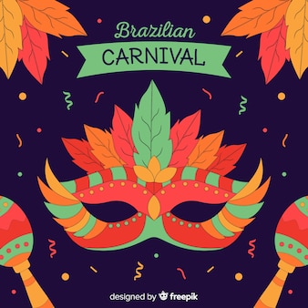 Hand getekend masker braziliaanse carnaval achtergrond
