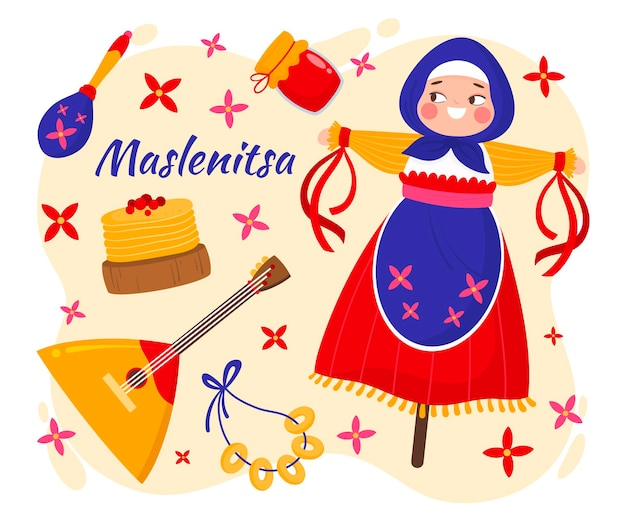 Hand getekend maslenitsa illustratie