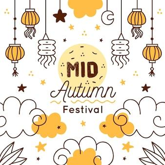 Hand getekend medio herfst festival concept