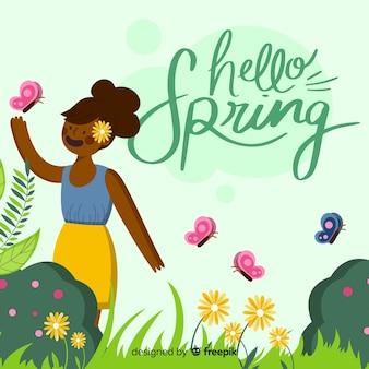 Hand getekend meisje lente achtergrond