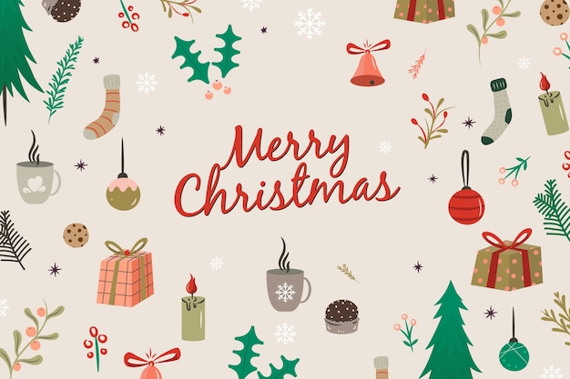 Hand getekend merry christmas achtergrond