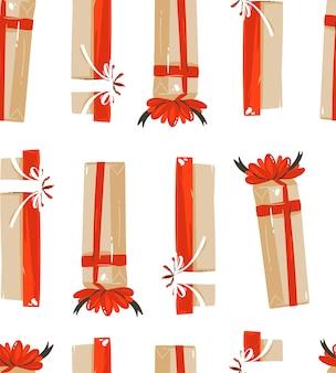Hand getekend merry christmas cartoon illustraties tijdpatroon naadloze