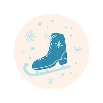 Hand getekend merry christmas clipart met skate sneeuwvlokken op beige background