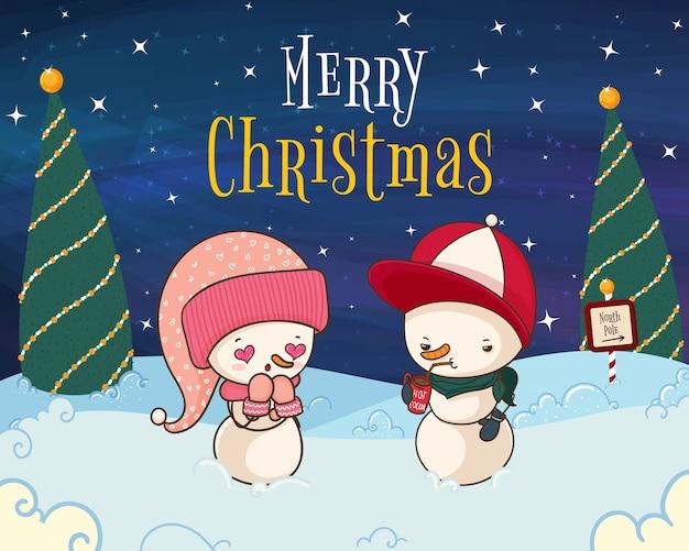 Hand getekend merry christmas illustratie met sneeuwmannen