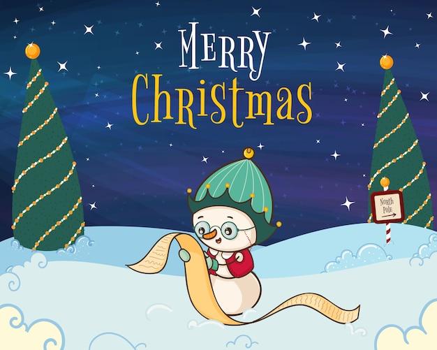 Hand getekend merry christmas illustratie met sneeuwpop