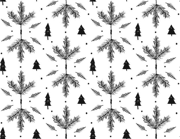 Hand getekend merry christmas ruwe freehand grafische naadloze patroon