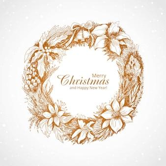 Hand getekend merry christmas winter ornament kaart ontwerp
