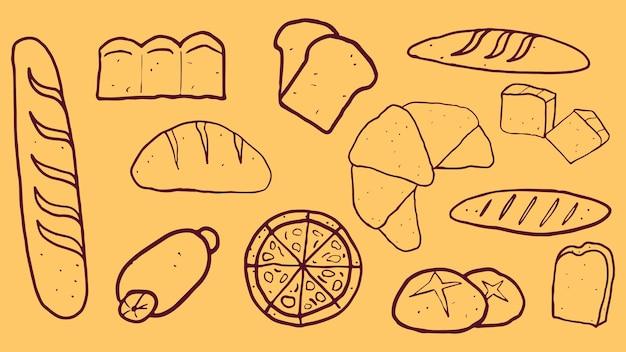 Hand getekend met zoet en dessert brood cartoon
