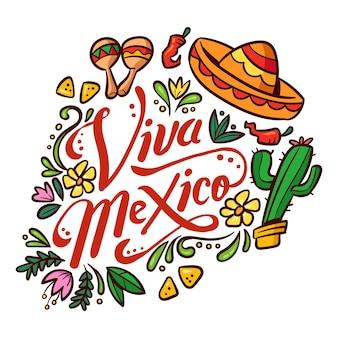 Hand getekend mexicaanse onafhankelijkheidsdag concept