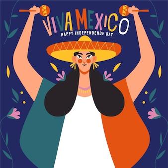 Hand getekend mexicaanse onafhankelijkheidsdag