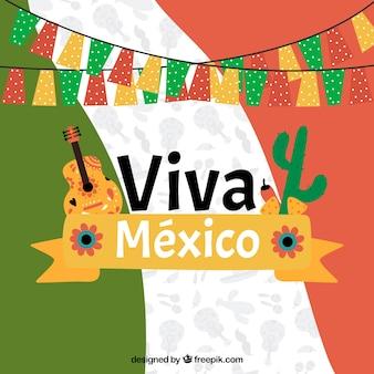 Hand getekend mexicaanse vlag achtergrond