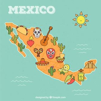 Hand getekend mexico kaart