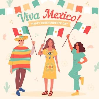 Hand getekend mexico onafhankelijkheidsdag