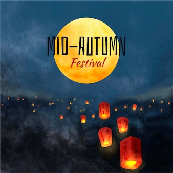 Hand getekend mid-autumn festival