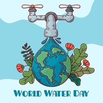 Hand getekend milieu wereld water dag