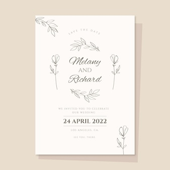 Hand getekend minimalistische huwelijksuitnodiging