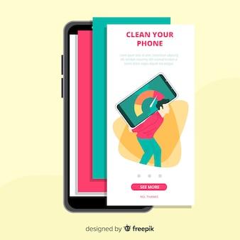 Hand getekend mobiel app-concept