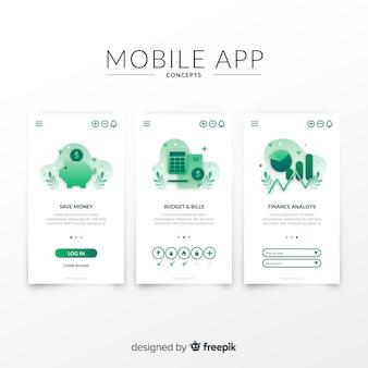 Hand getekend mobiele app-sjabloon voor spandoek