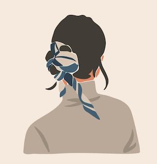 Hand getekend mode-illustratie met boheemse, mooie portret