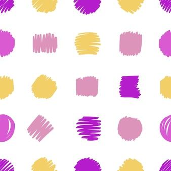 Hand getekend modern patroon van penseelstreek. vector naadloze abstracte achtergrond in felle kleuren.