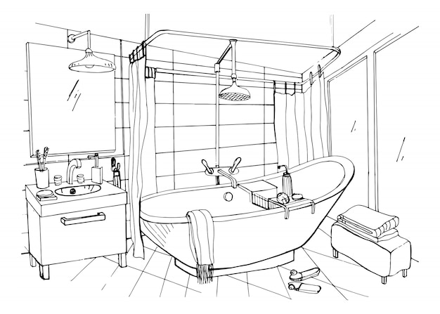 Hand getekend moderne badkamer interieur. schets illustratie.