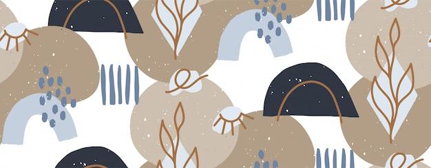 Hand getekend moderne illustratie met modieuze abstracte verschillende vormen en oog, doodle objecten. abstract modern trendy naadloos patroon. retro, pin-up herhalende textuur.
