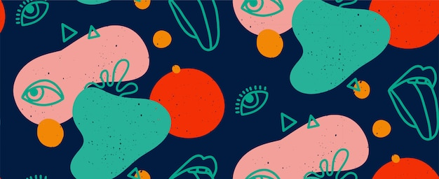 Hand getekend moderne illustratie met modieuze lippen met tong en oog, verschillende vormen en doodle objecten. abstract modern trendy naadloos patroon. retro, pin-up herhalende textuur.
