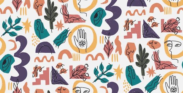 Hand getekend moderne illustratie met modieuze portret, vrouw lichaam, hand en oog, verschillende vormen en doodle objecten. abstract modern trendy naadloos patroon. retro, pin-up herhalende textuur.