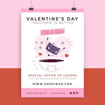 Hand getekend moderne valentijnsdag poster