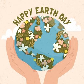 Hand getekend moeder aarde dag achtergrond