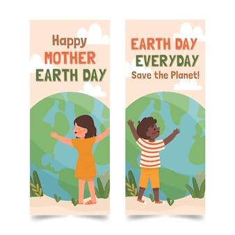 Hand getekend moeder aarde dag banner pack