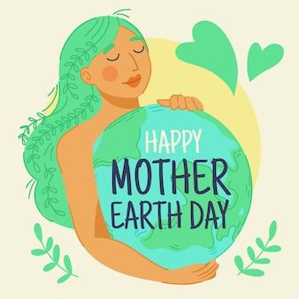 Hand getekend moeder aarde dag behang