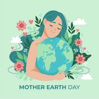 Hand getekend moeder aarde dag illustratie
