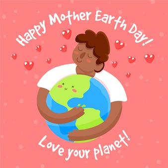 Hand getekend moeder aarde dag met man knuffelen planeet