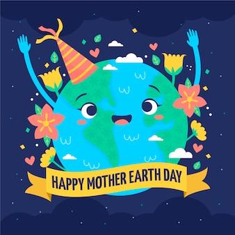 Hand getekend moeder aarde dag met schattige planeet