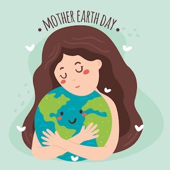 Hand getekend moeder aarde dag