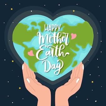 Hand getekend moeder aarde met hartvormige planeet