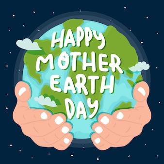 Hand getekend moeder aarde planeet in handen gehouden
