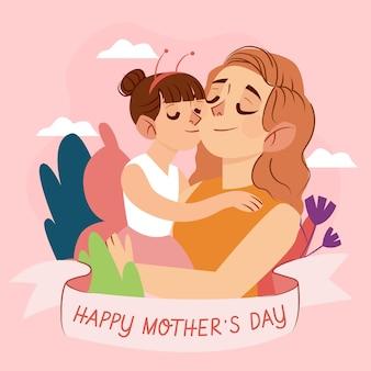 Hand getekend moederdag illustratie