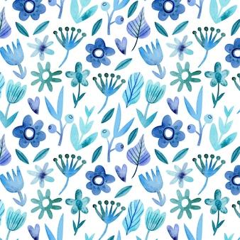 Hand getekend monochroom bloemmotief in blauwe kleuren