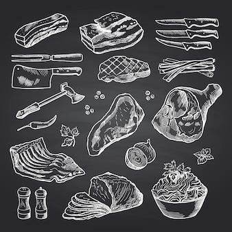 Hand getekend monochroom vlees stukken op zwarte schoolbord. vlees en voedsel, rundvlees schets en varkensvlees illustratie